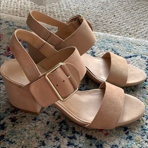 Franco Sarto Nude Suede Buckle Block Heel Sandals